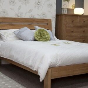 Scandic Solid Oak Furniture Slatted 5ft King Size Bed